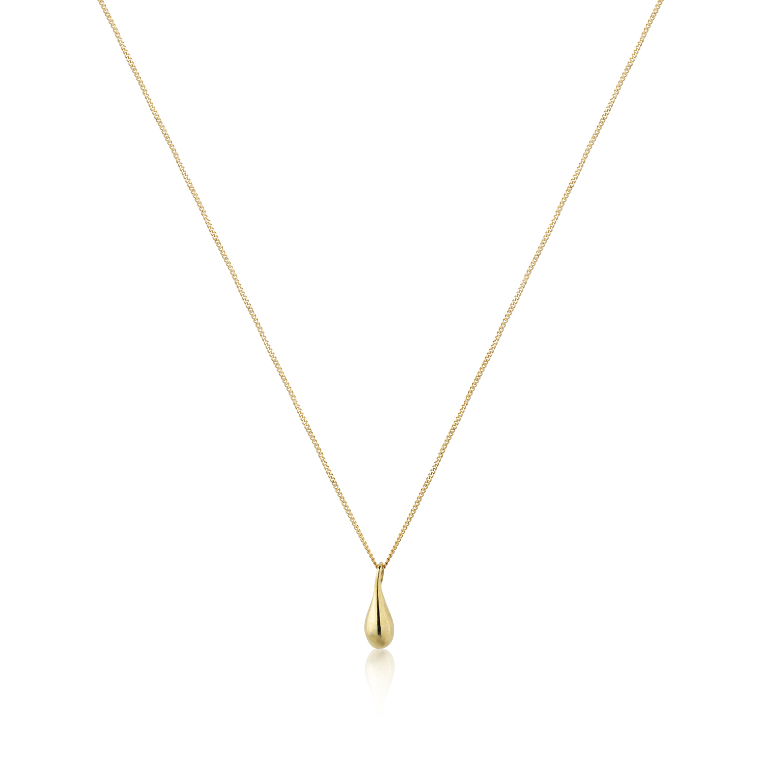 Olive oil drop pendant with chain in 18k gold