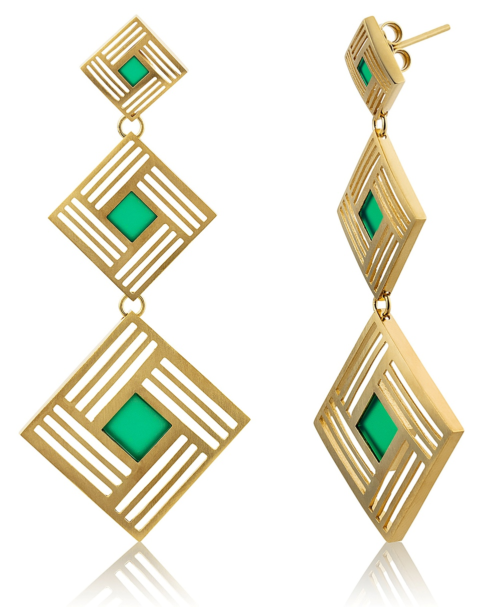 Llum triple long earrings