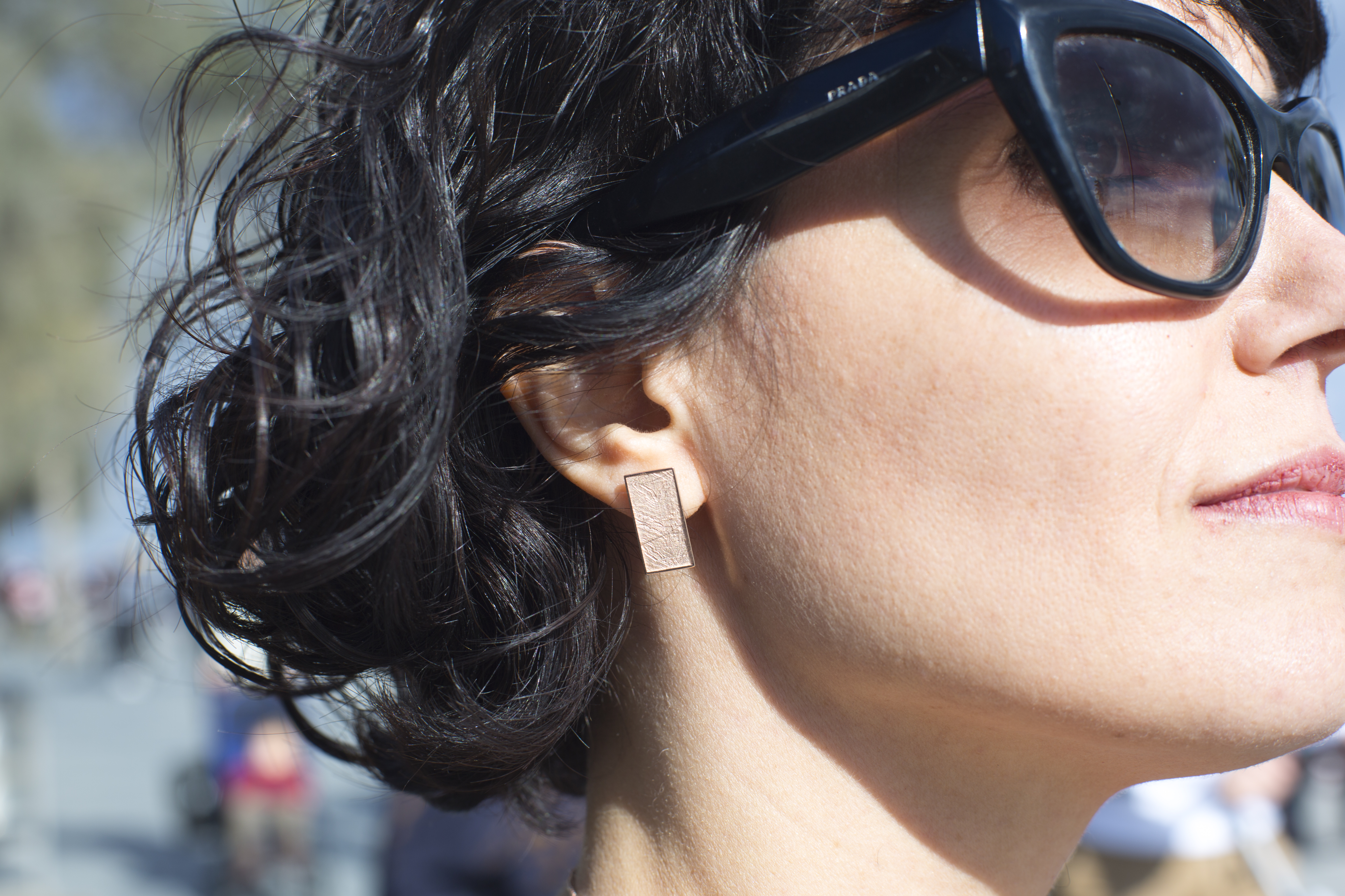 Rose gold plated silver Mies earrings