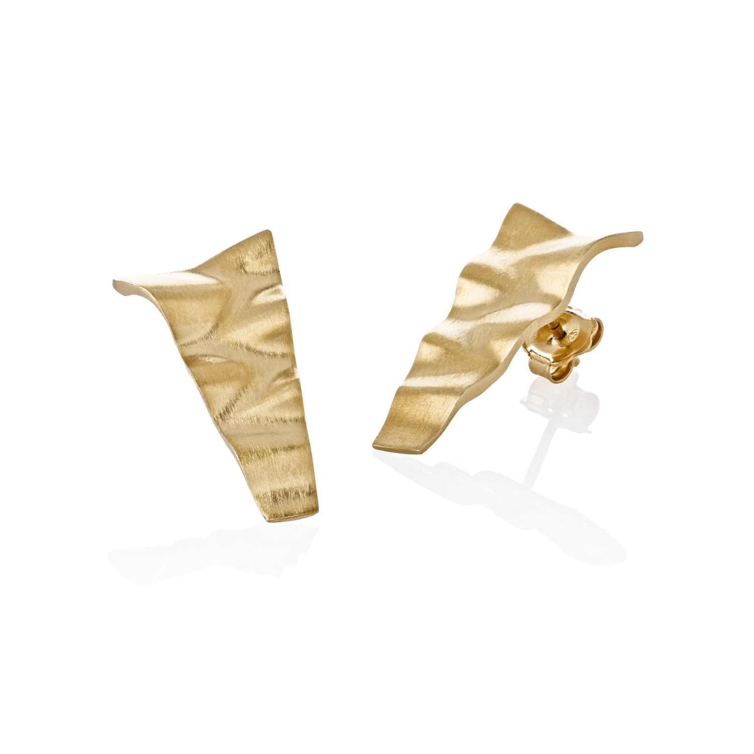 Large gold plated roof earrings